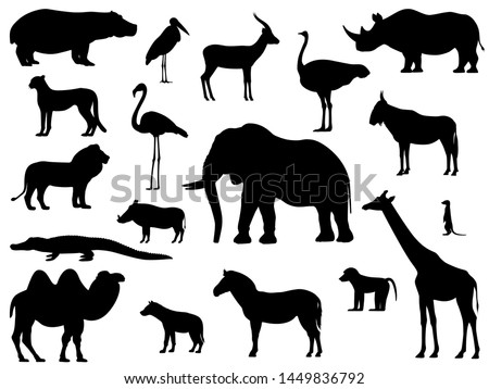 set silhouette standing african