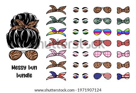 Set Silhouette woman face with messy bun, bandana and aviator glasses. Mom life cutfile. Messy Bun Mom Lifestyle. vector illustration Foto stock ©
