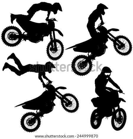 set silhouettes motocross rider