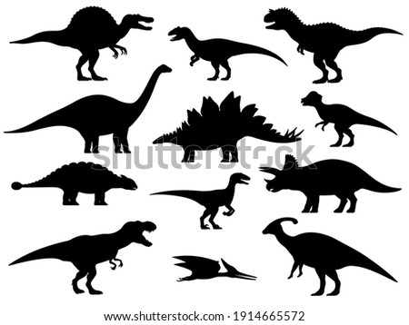 Set silhouettes of dinosaurs. Vector illustration group of black dinosaur silhouette icons isolated on white. Logo side view, profile.