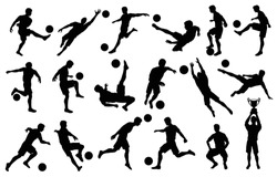set silhouettes soccer football players, goalkeeper, team champion with cup, soccer ball in various poses, vector isolated on white background