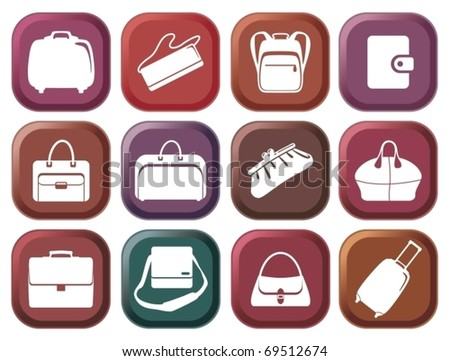 Set simple colour buttons of bags and handbags