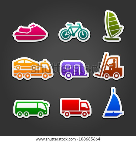 Set simple stickers multicolor transport