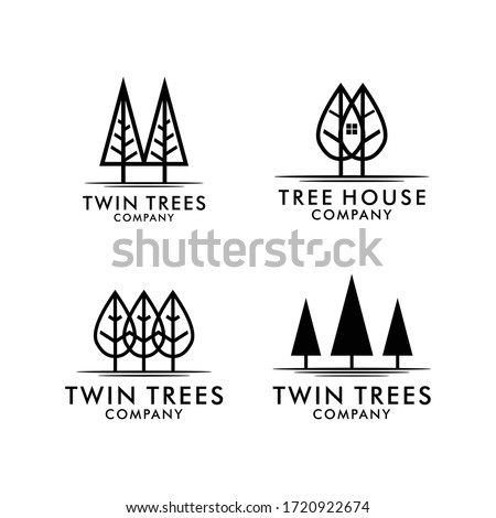 set simple trees logo with line