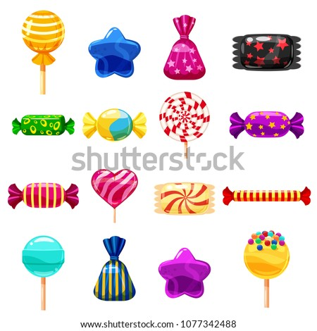 Set single cartoon candies, lollipop, candy, desserts. Illustration, isolated on white. Cartoon style