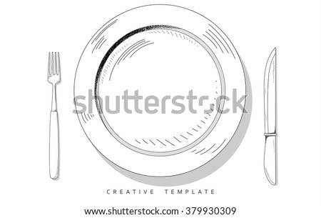 Set sketch cutlery . Plate fork and knife . Template for food presentation , advertising text . Template for cafes, restaurants, bars, hotels. Beautiful , stylish sketch background - the template .