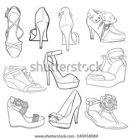 set sketch of shoes isolated