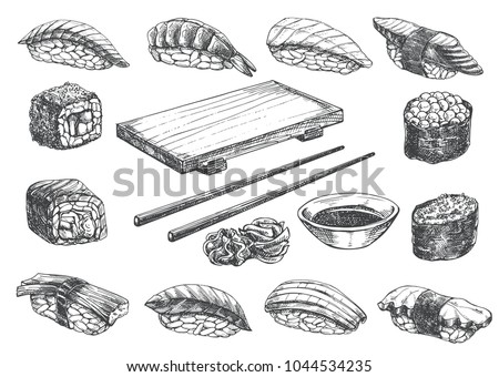 Set sketch sushi roll, wooden geta and chopstick. Japanese traditional food icon. Isolated hand drawn vector illustration.