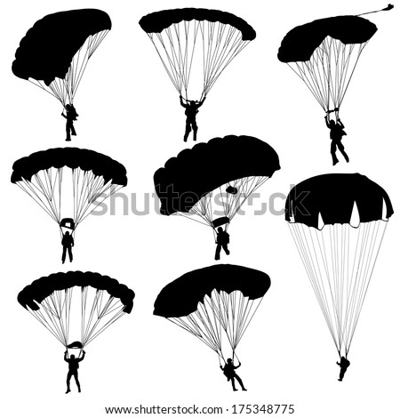 set skydiver  silhouettes