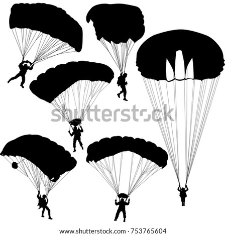 Set skydiver, silhouettes parachuting vector illustration.