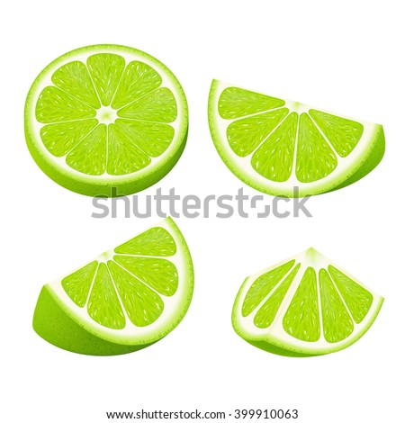 Set slices of lime isolated on white background. Realistic vector illustration. #399910063