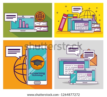 set smartphone with computer and laptop technology elearning