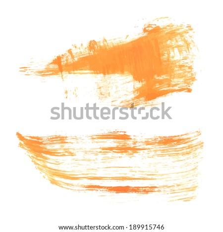stock-vector-set-smears-liquid-orange-gouache-paint