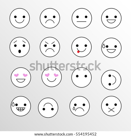 Set smiley icons for applications and chat. Emoticons with different emotions isolated on white background.