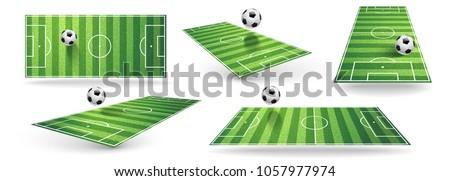 Set Soccer Field Isolated on White. Vector illustration