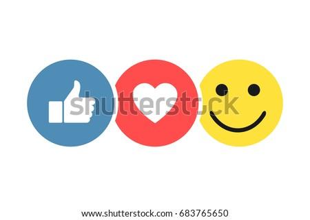 Set social icons, Like Heart Smiley, Thumb up icon like