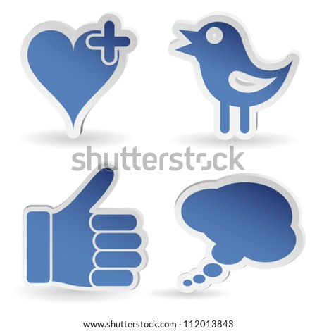 Set Social Media Sticker with Like, Speech Bubble, Heart and Bird Icon, isolated vector