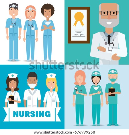 set specialist medical doctors with hat and mask