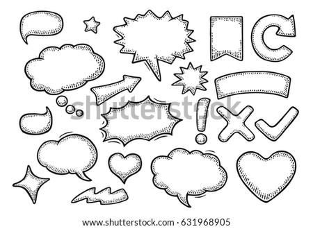 Set speech and thought bubbles. Isolated on white background. Vintage black vector engraving illustration for poster, info graphic, web.