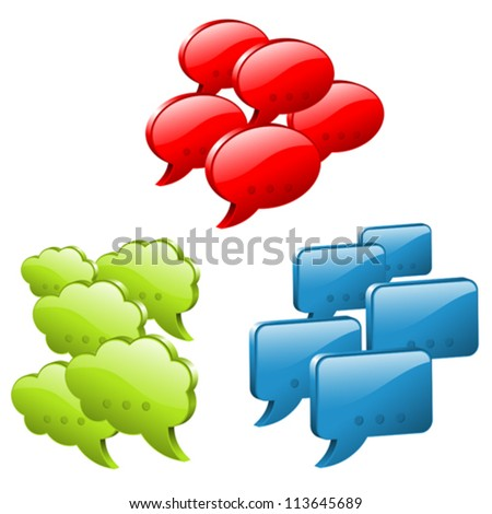 Set Speech and Thought Bubbles, social media concept, easy to change colors, vector illustration