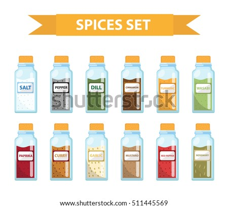 set spices in jars  flat style