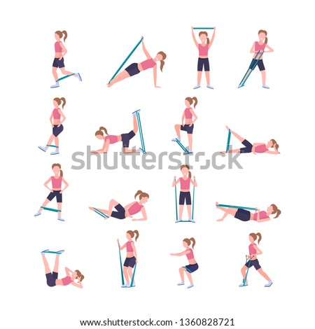 set sporty woman doing different exercises with resistance band girl training in gym stretching workout healthy lifestyle concept flat white background