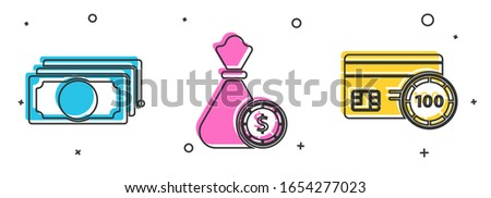 Set Stacks paper money cash, Money bag and casino chips and Credit card icon. Vector