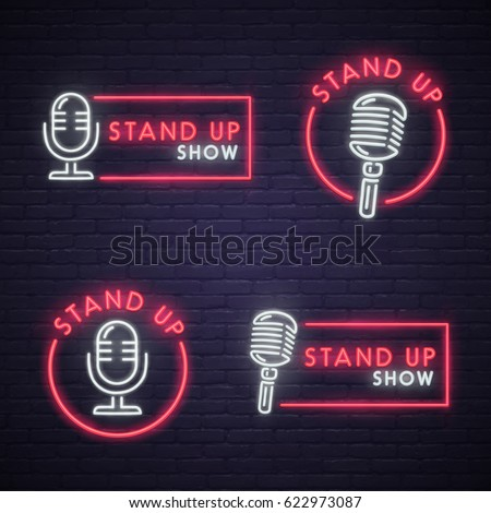Set Stand Up neon sign. Neon sign, bright signboard, light banner.  Stockfoto ©