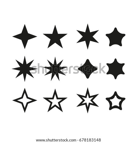 set star   vector icon star set