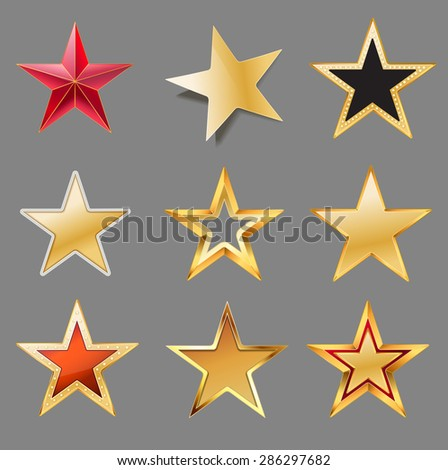 set stars with gold  red  black