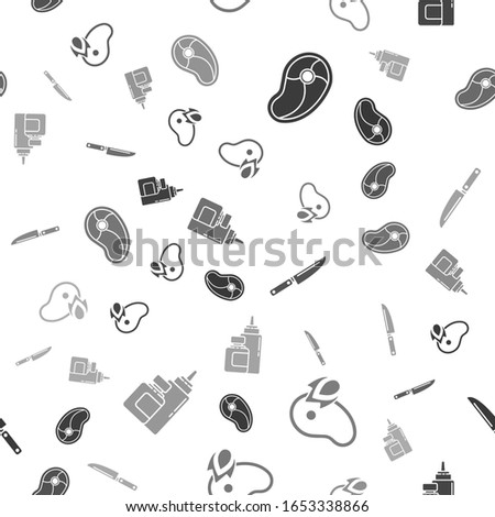 Set Steak meat, Grilled steak meat and fire flame, Knife and Sauce bottle on seamless pattern. Vector
