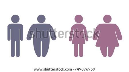 set stick figure obesity man