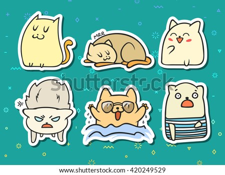 set sticker doodle cats with
