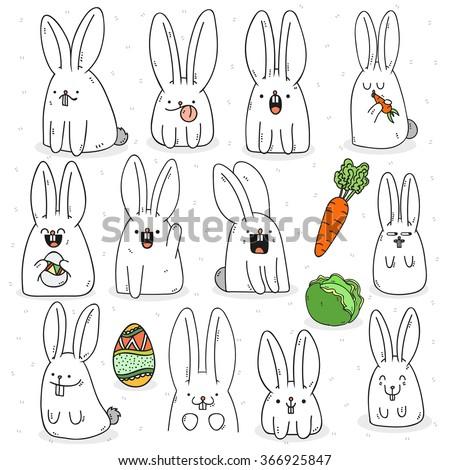 set 12 sticker rabbit doodle