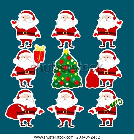 set stickers santa claus in