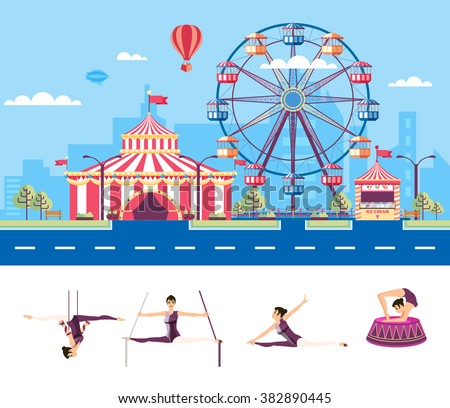 Set stock vector illustration isolated city street with amusement park, tent, ferris wheel, cartoon air gymnast, acrobat, circus performer in flat style element infographic, website, icon