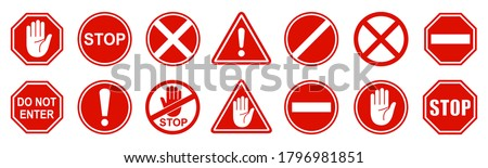 Set stop red sign icon with white hand, do not enter. Warning stop sign - stock vector Foto d'archivio ©