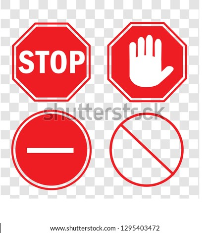 Set stop sign,vector stop illustration. red warning symbol