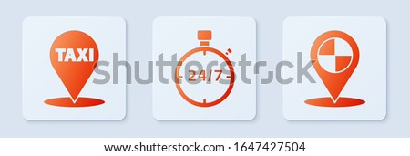 Set Stopwatch 24 hours, Map pointer with taxi and Map pointer with taxi. White square button. Vector