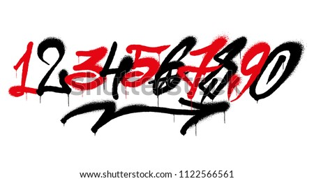 Set street type calligraphy design numbers graffiti style tag letters write marker brush ink or aerosol paint spray. Free wildstyle for wall city urban. Modern vector style illustration art print.