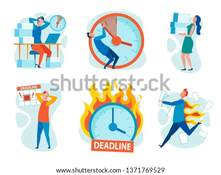 Set Stress from Breaking Deadlines Cartoon Flat. Vector Illustration on White Background. People Clutching their Heads, Backs are Burning. Man is Trying to Hold Clock Hands. Clock is Ablaze.