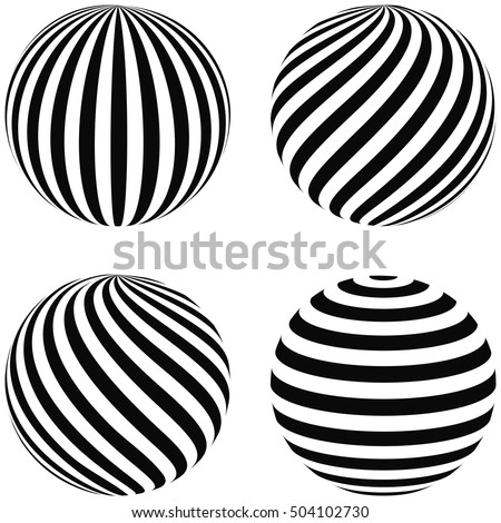 Set striped balls 3D, diagonal swirls, horizontal curvature, vertical arc on the sphere, vector planet