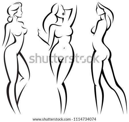 Set stylized beautiful women silhouettes vector illustration