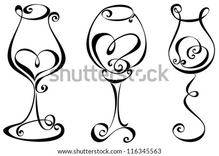 Set stylized wine glass with heart