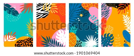 Set summer cards, banners, flyers with tropical palm leaves and animal print. Abstract Summertime backgrounds,Template for your design, sales, social media,web. Vector illustration. Zdjęcia stock ©