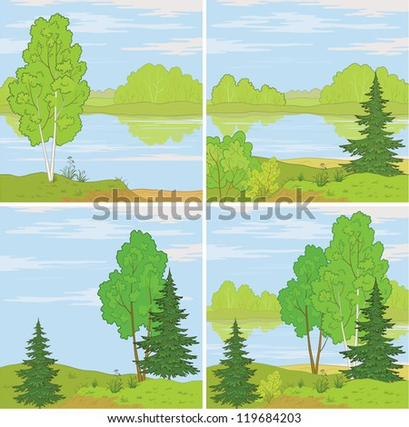 Set summer landscapes: forest, river and the blue sky with white clouds. Vector