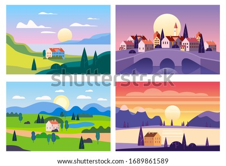 Set Summer sunset seaside landscapes. Cityscape stone bridge, Sea ocean nature hills fields mountains blue sky clouds sun house countryside. Trees and grass rural land. Flat cartoon trendy style