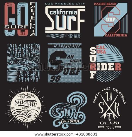 set summer surfing  typography