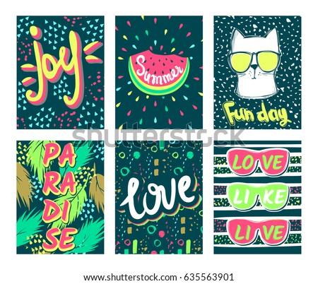 set summer vector cardstrendy