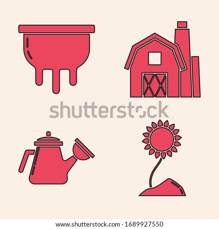Set Sunflower, Udder, Farm House concept and Watering can icon. Vector